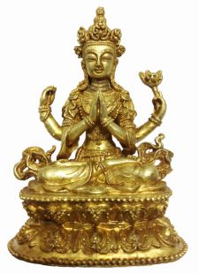 Four Arm Avalokiteshvara brass statue