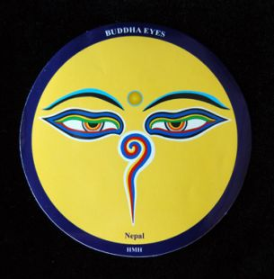 Round Buddha eyes sticker