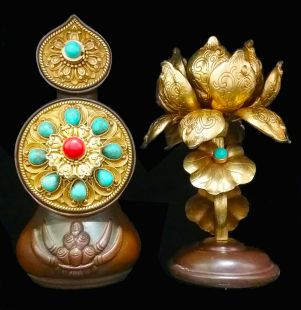 Peaceful Torma set brass Gild Gold