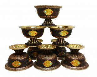 Eight Auspicious Offering Bowl with stand (Brass)