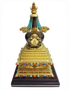 Stupa brass Partly Gold Plated with stone (S)