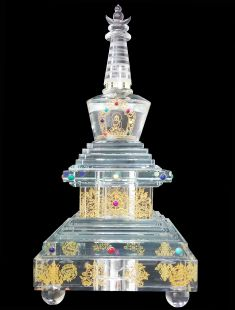 Eight Crystal Stupa of Buddha with LED (8 pieces a set)