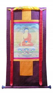 Assorted Sakyamuni Buddha thanka with brocade