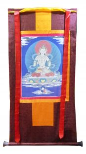 Assorted Vajrasatva thanka with brocade