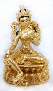 Green Tara , Full gilt gold statue